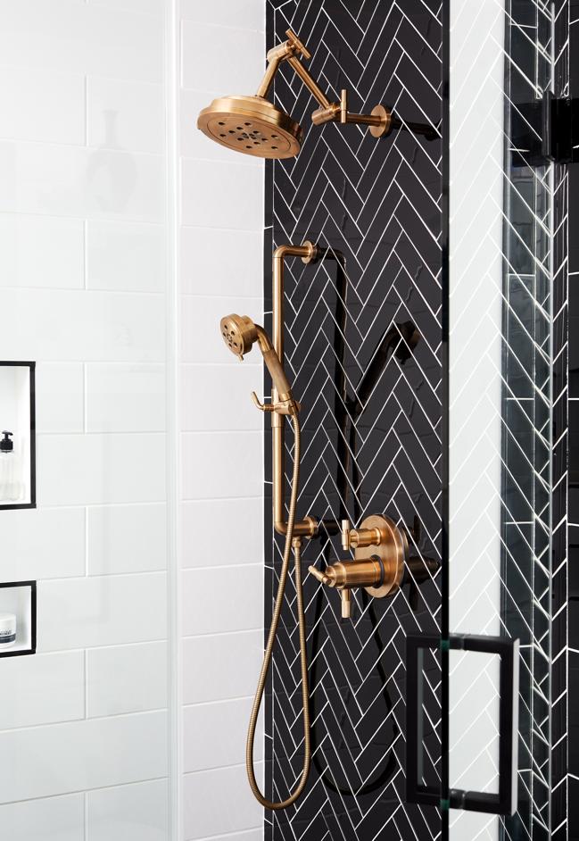 Black shower with brass