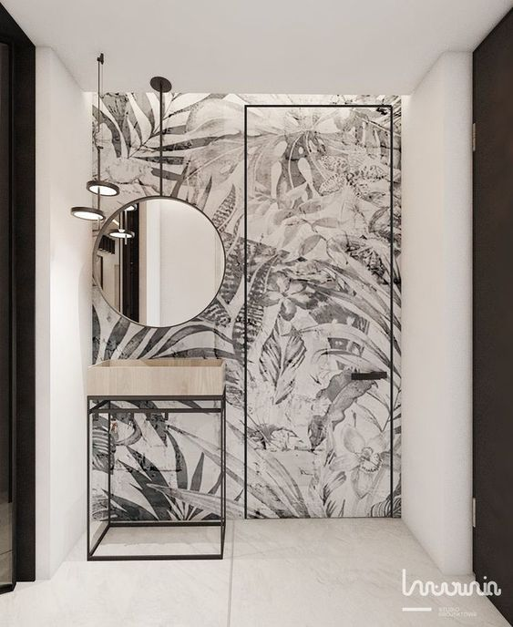 black and white abstract bathroom wallpaper