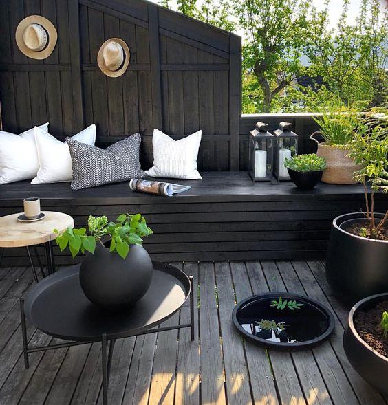 black patio seating