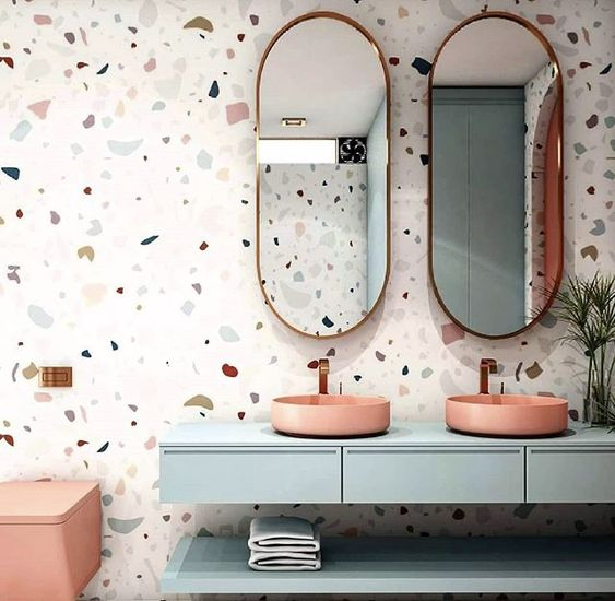 earthy pink pale blue and terrazzo bathroom color scheme