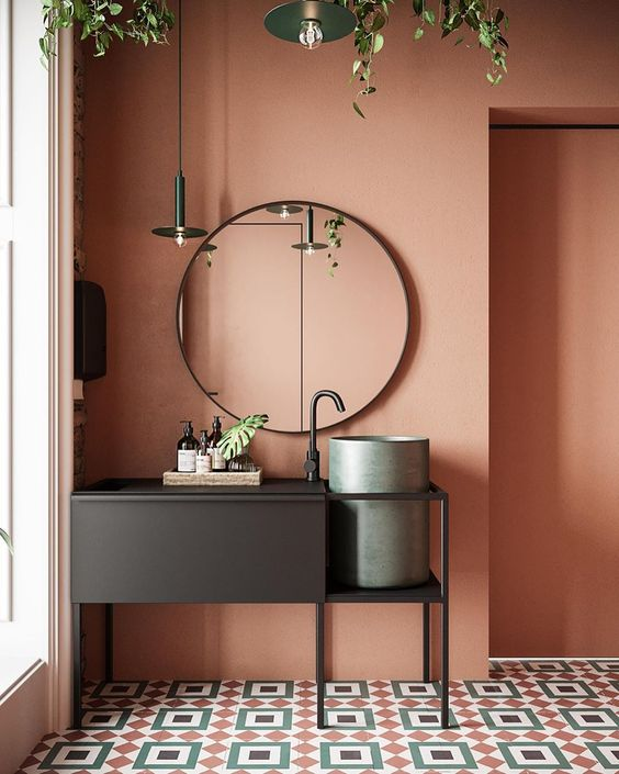 earthy pink bathroom color