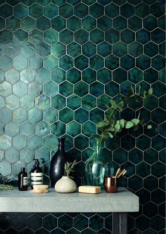 bathroom color - emerald hexagon tiles
