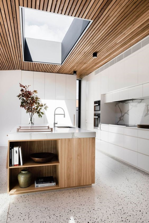 timber kitchen with feature panel ceiling