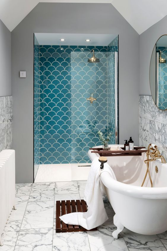fish scale tile shower