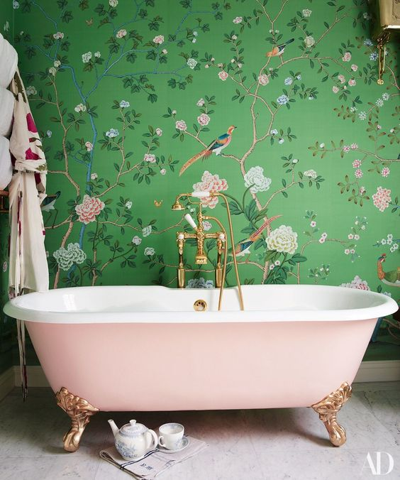 green enchanted garden wallpaper with pink tub