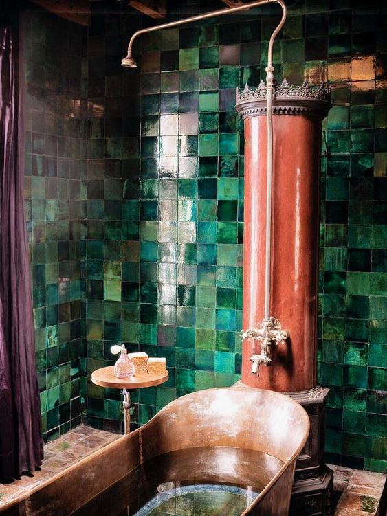 green tile and red bathroom color scheme