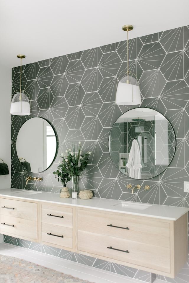 grey geo faux tile