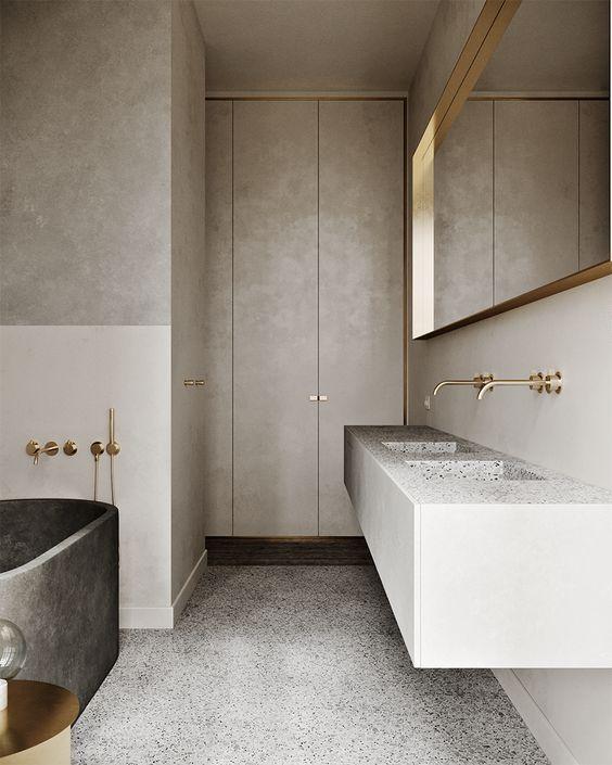 grey terrazzo and gold