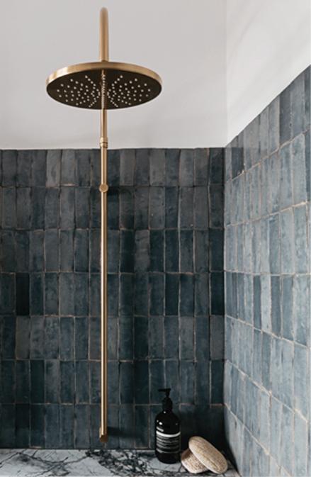 grey zellige large brass showerhead