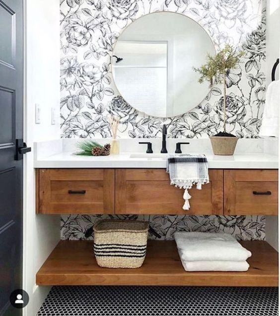 large black floral wallpaper in coastal bathroom