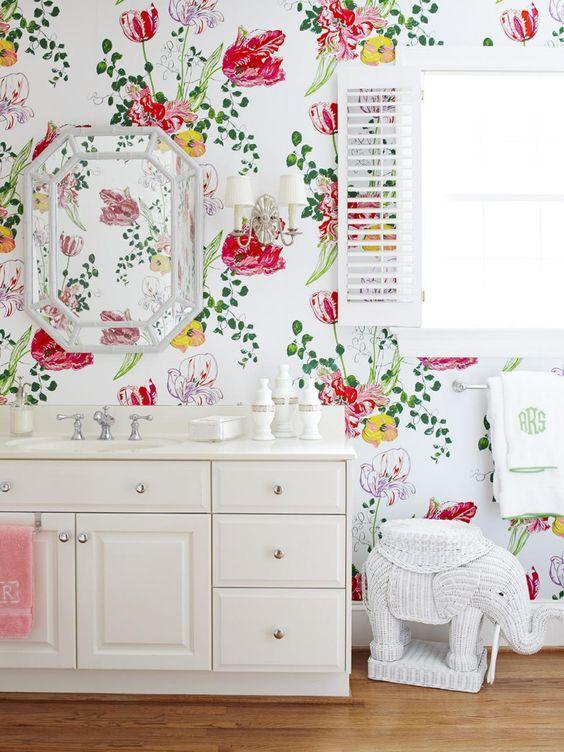 large floral wallpaper white bathroom