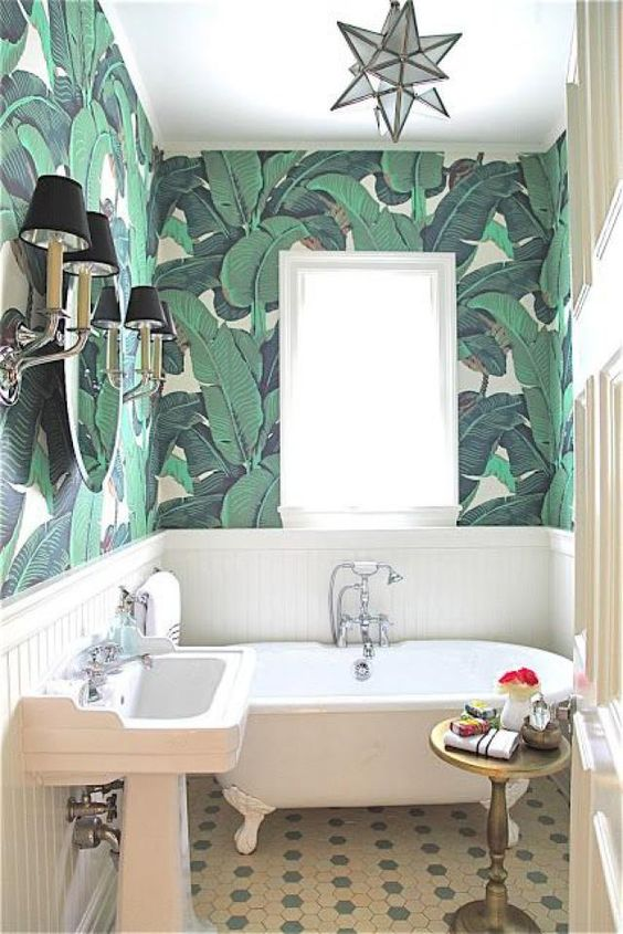 wallpaper with large green leaves