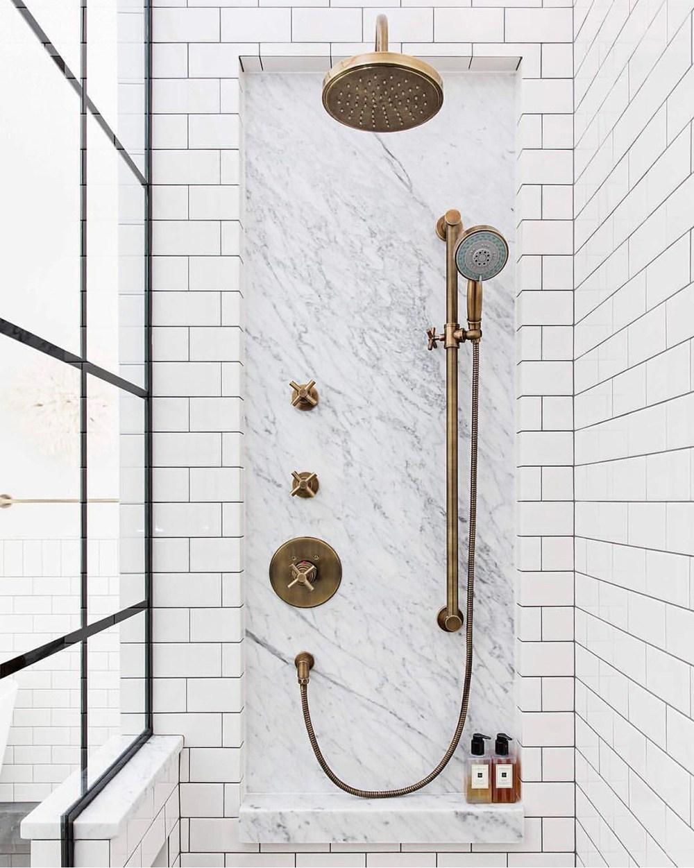 marble niche in subway shower