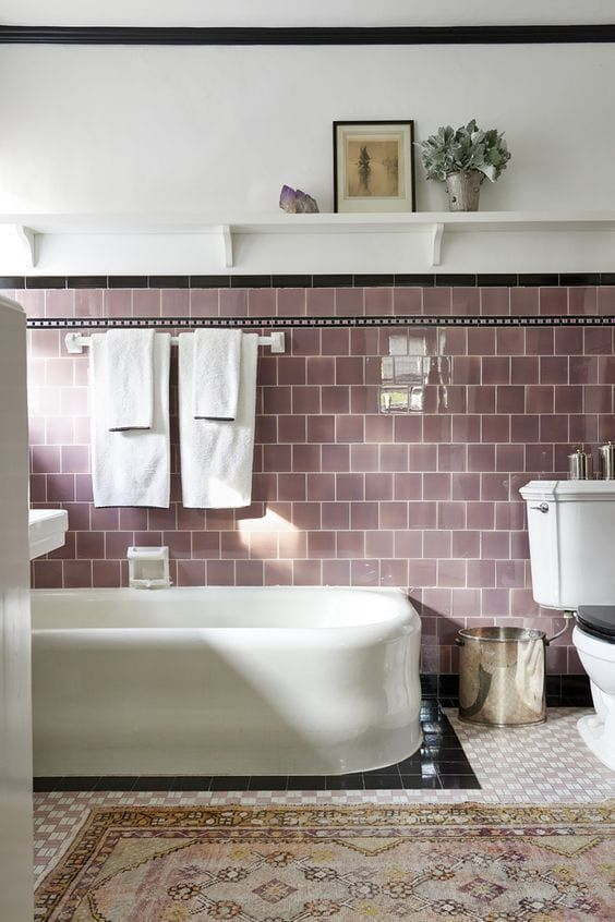 mauve square subway tile