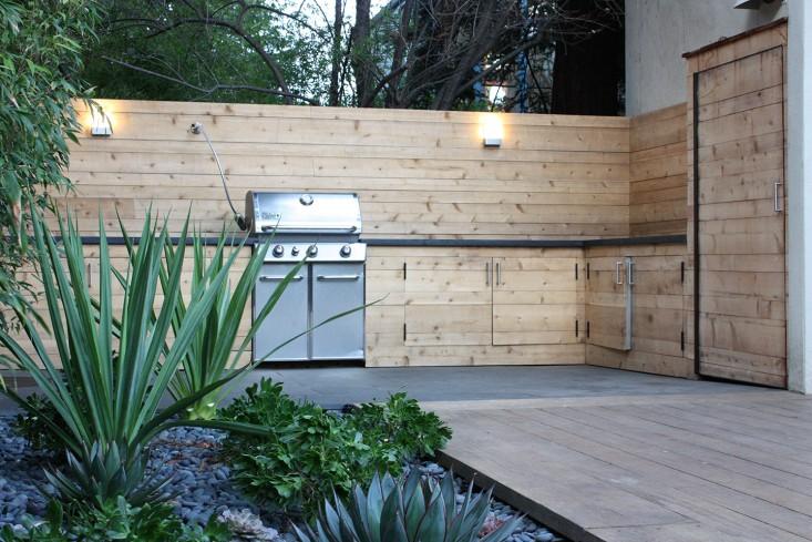 minimalist timber outdoor kitchen