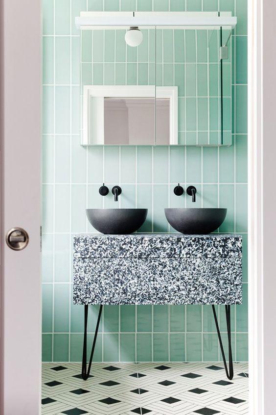 mint green faux tile
