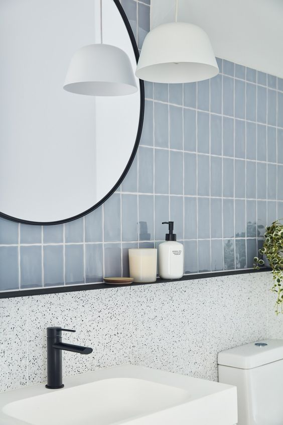 pale blue and terrazzo