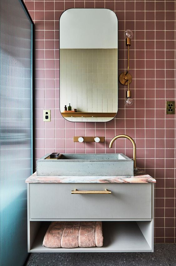 pink and grey bathroom color scheme