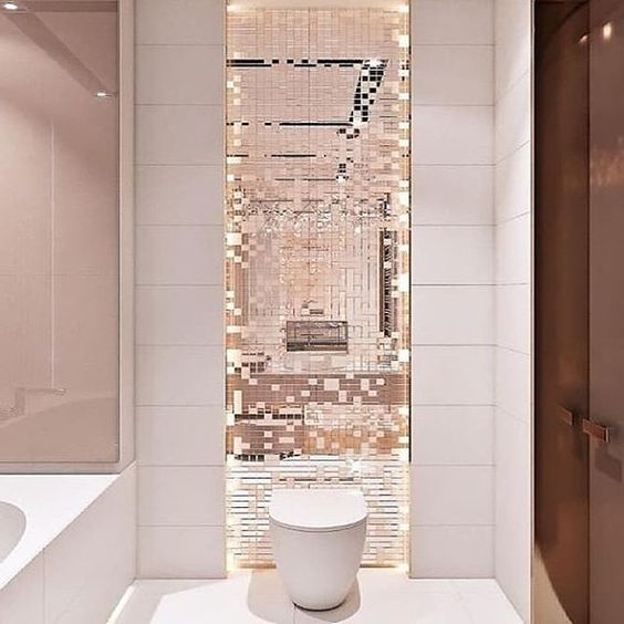 add bathroom color with pink mirror mosaic