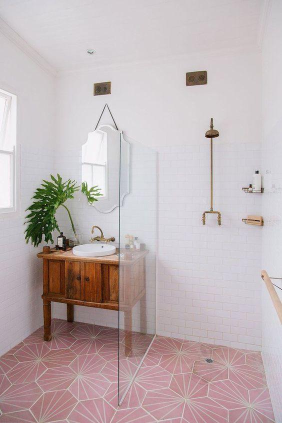 pink tile floor