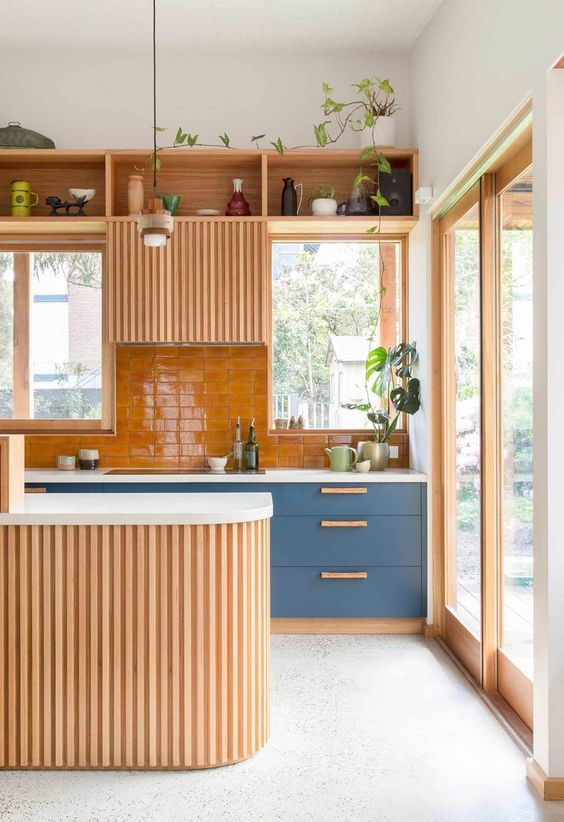timber kitchen with a playful feature