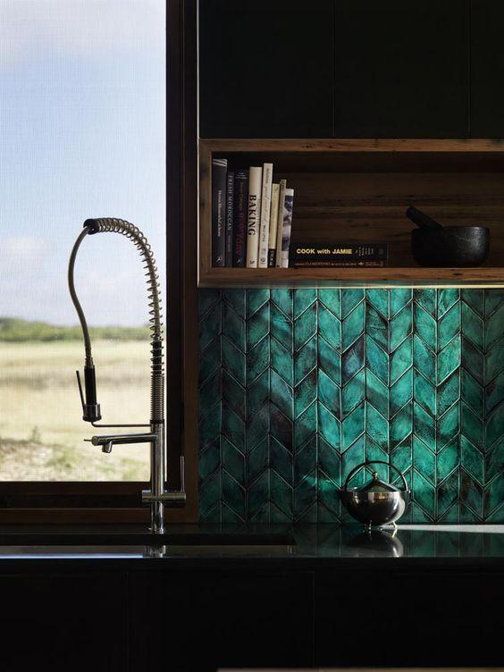 steal from kitchen tile inspo - teal herringbone