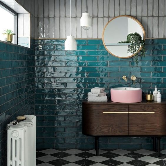 teal tiles with dark timber