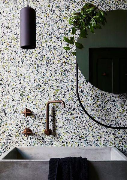 bathroom decor ideas - terrazzo wall