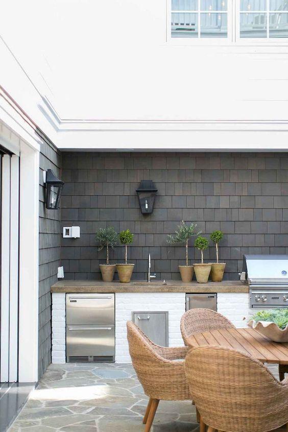 timber counter grey flagstones black shingles