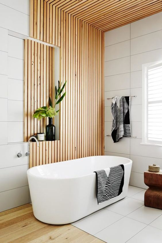 timber bathroom with plants