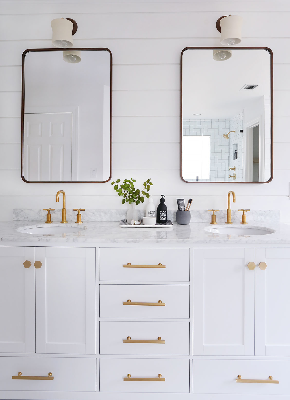 Marble and white vanity