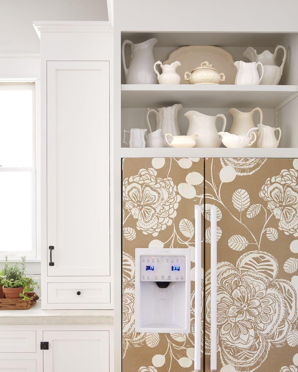 wallpapered fridge