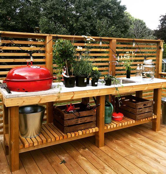 baby BBQ outdoor kitchen