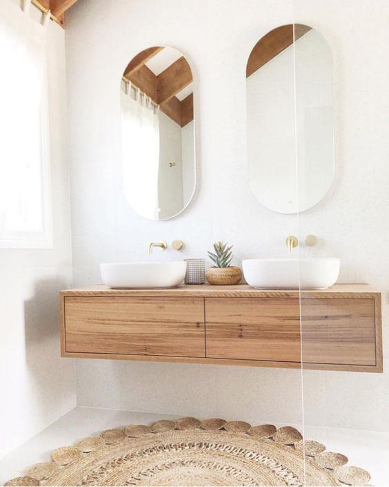 white timber bathroom