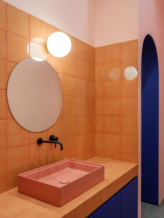 apricot and classic blue bathroom colors