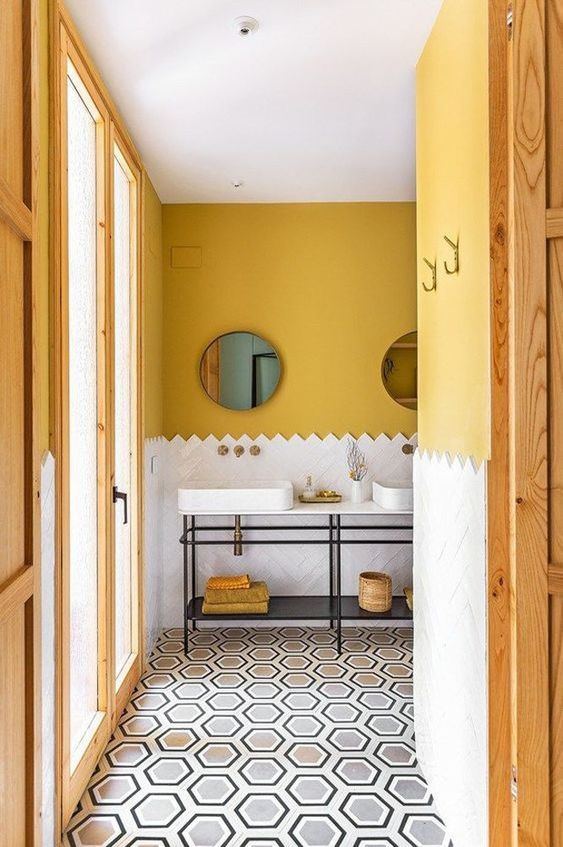 yellow bathroom color scheme