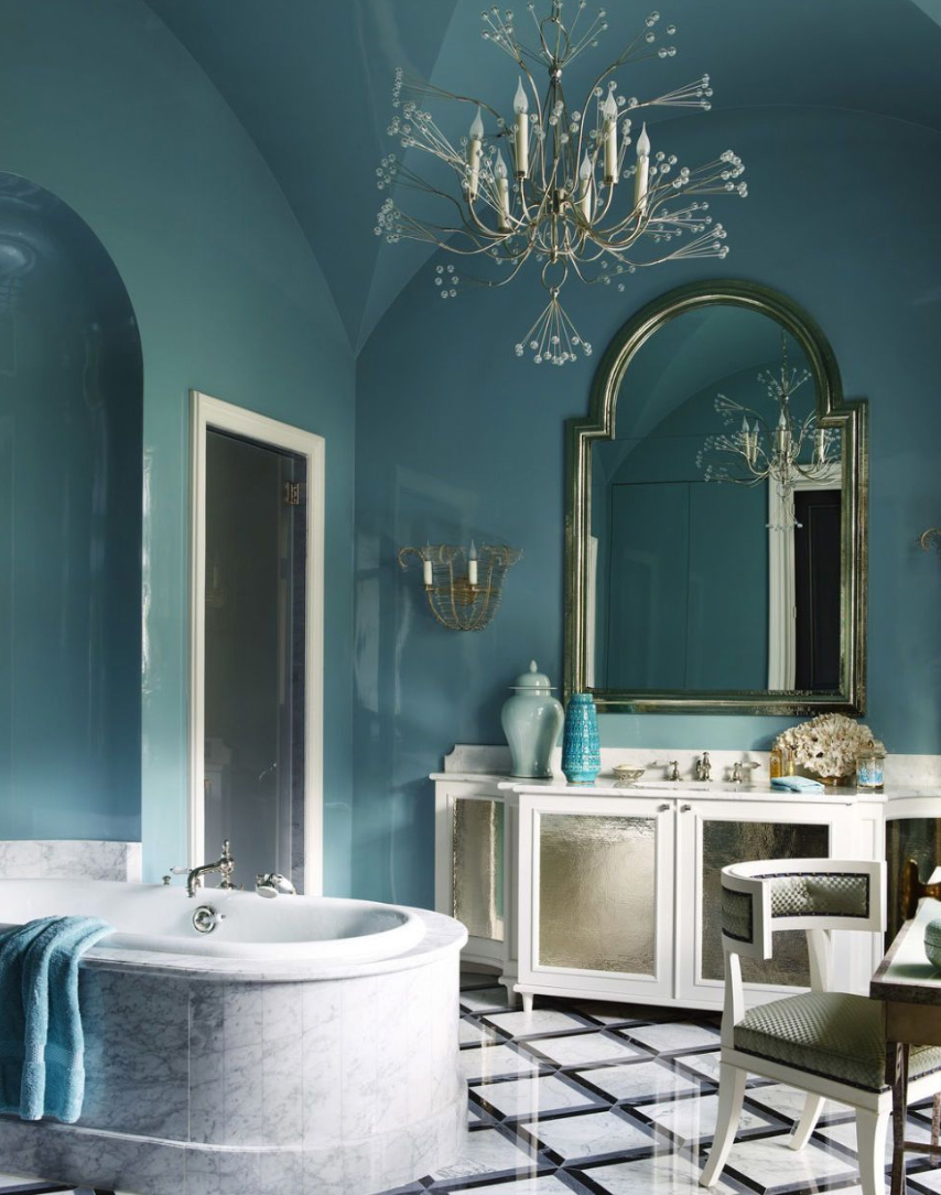 Dark blue bathroom