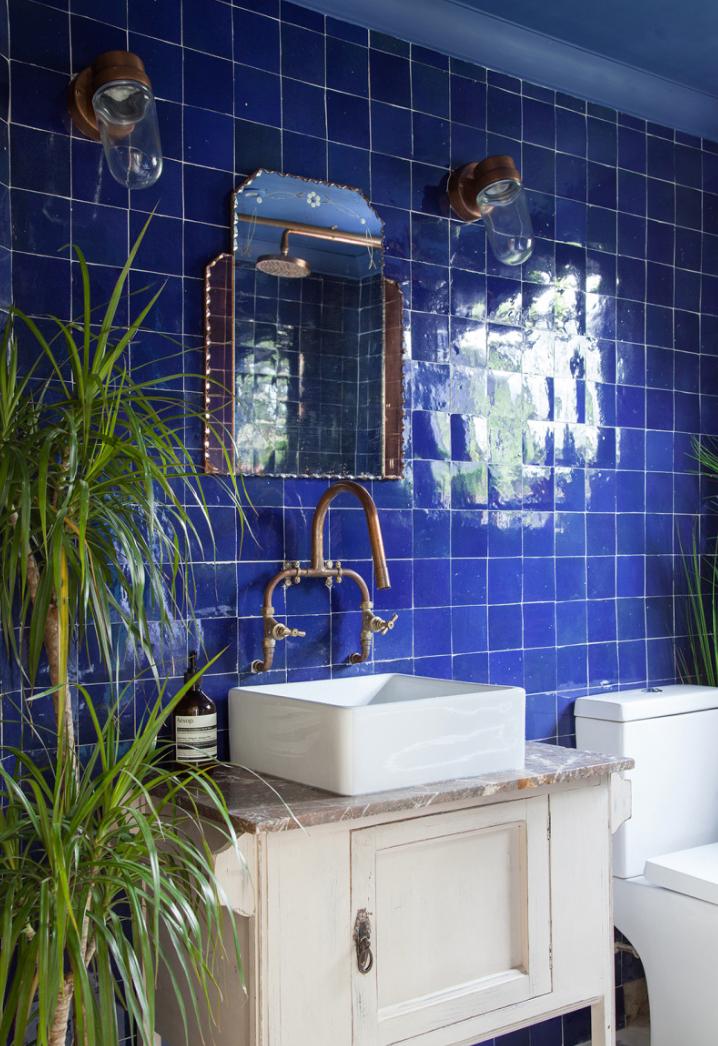 Shiny blue tiles