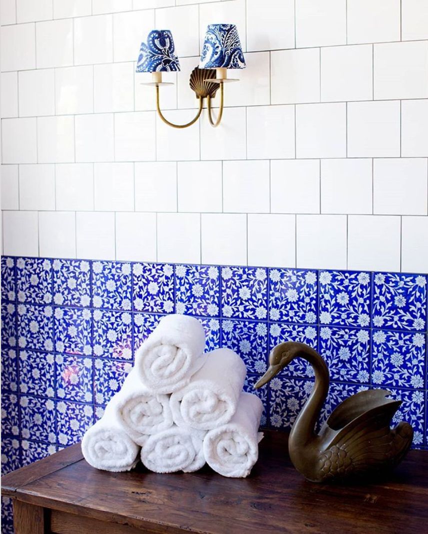 Bright blue tiles