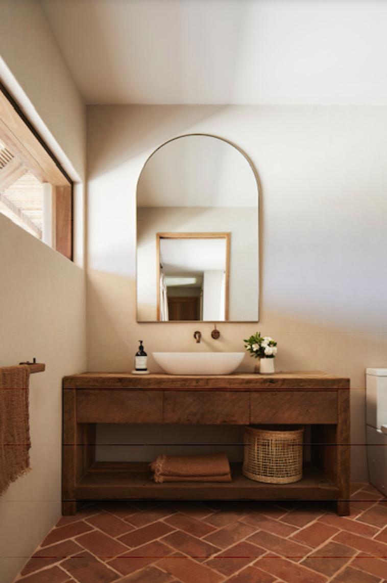 Bathroom with statement mirror