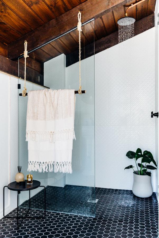 Black tiled bathroom