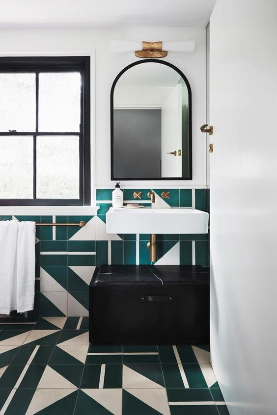 Art Deco dark bathroom