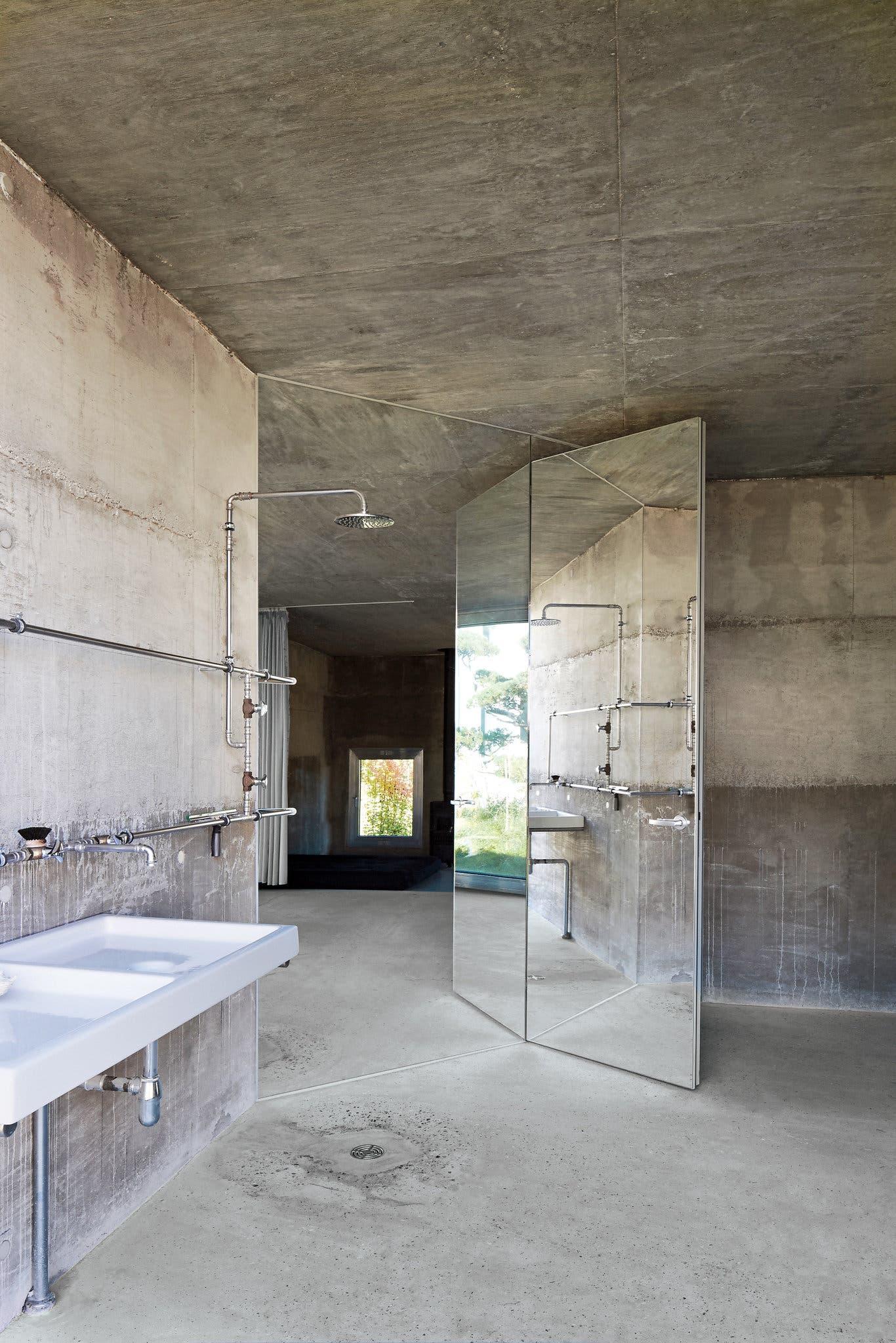 Open concrete bathroom