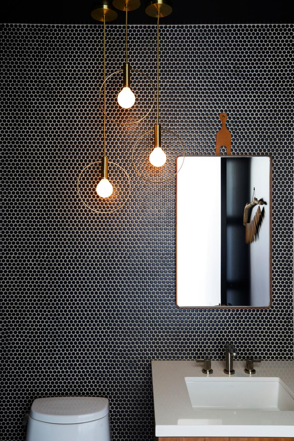 dark penny mosaic with statement lights
