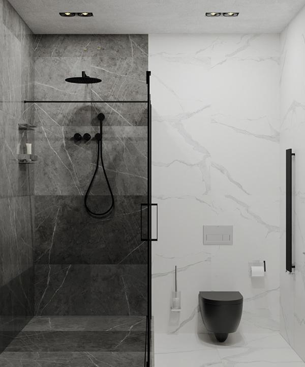 dark toilet and shower