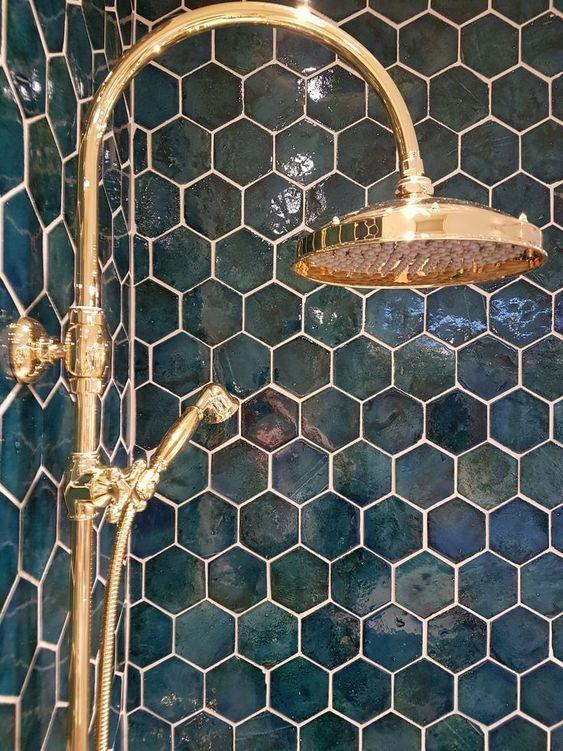 handmade Portuguese shower tiles