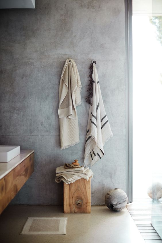 natural textiles for rustic bathroom