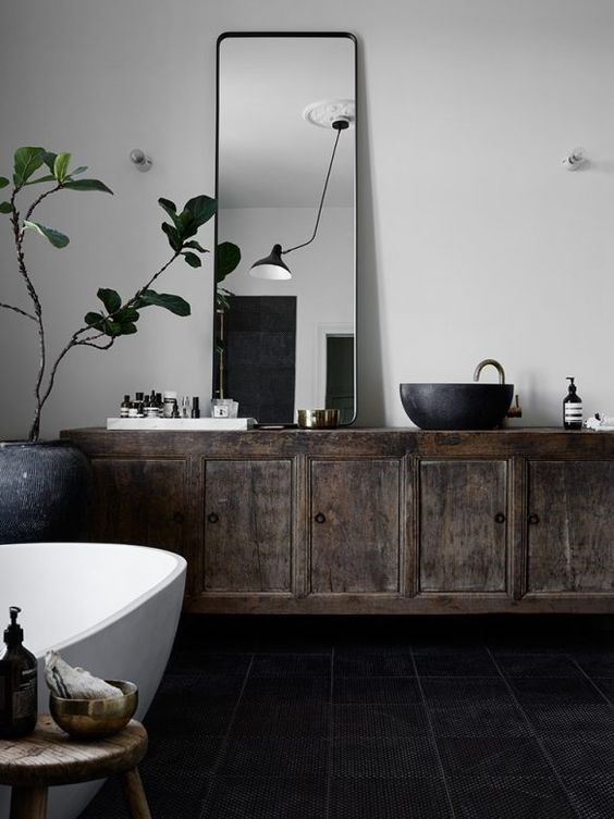 muted colours rustic bathroom