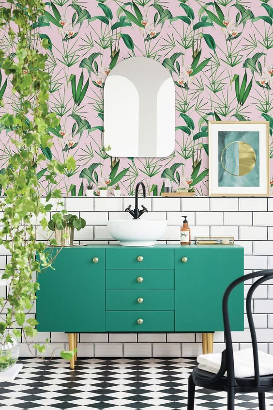 bathroom wallpaper with tile