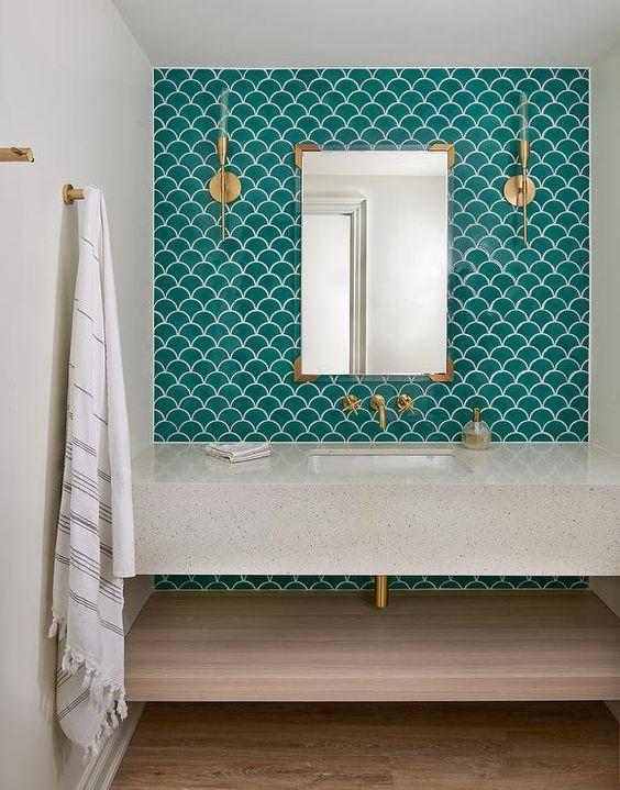 bathroom fish scale tiles